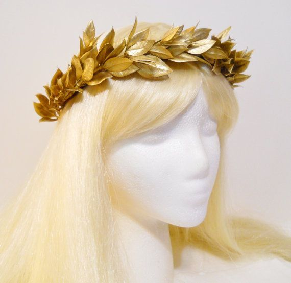 Gold Leaf Crown for a Greek Roman Goddess Laurel by MyFairyJewelry