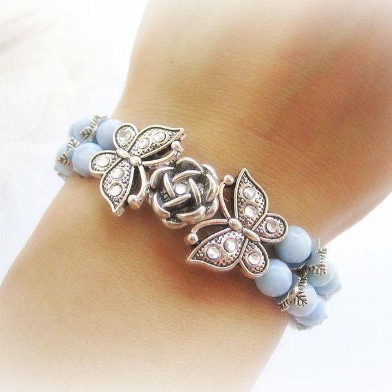 Blue agate bracelet stone beaded bracelet by MalinaCapricciosa
