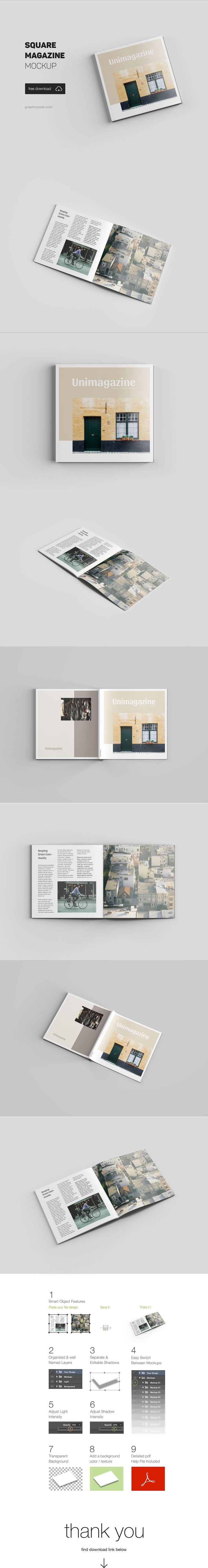 Today's freebie is premium magazine mockup template. This one in a square format.