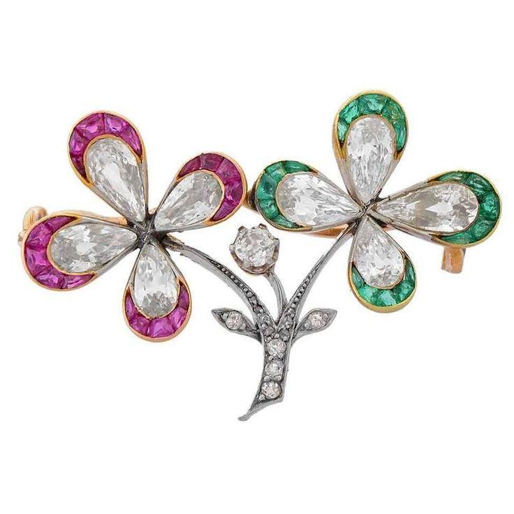 Edwardian Diamond Double Four Leaf Clover Flower Brooch