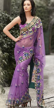 Lavender Hand Embroidered Net Saree