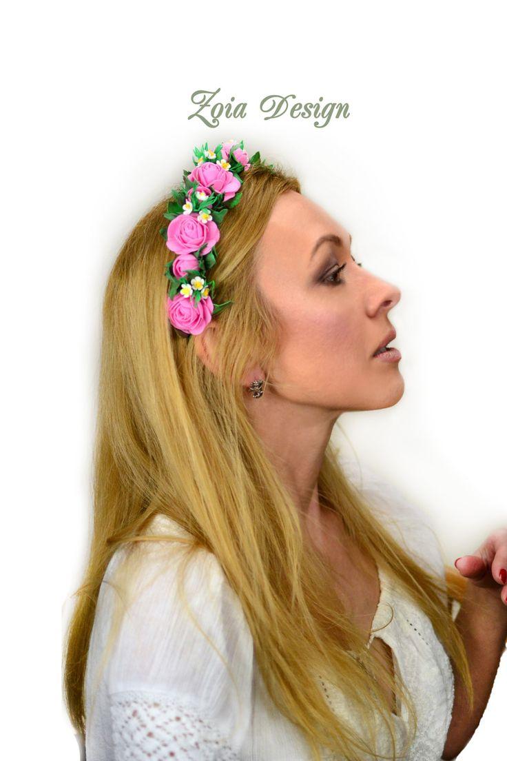 Rose crown, wedding flower crown, bridal headpiece, flower headband, rose headband, flower girl crown, bohemian wedding, pink rose headband von ZoiaDesign auf Etsy