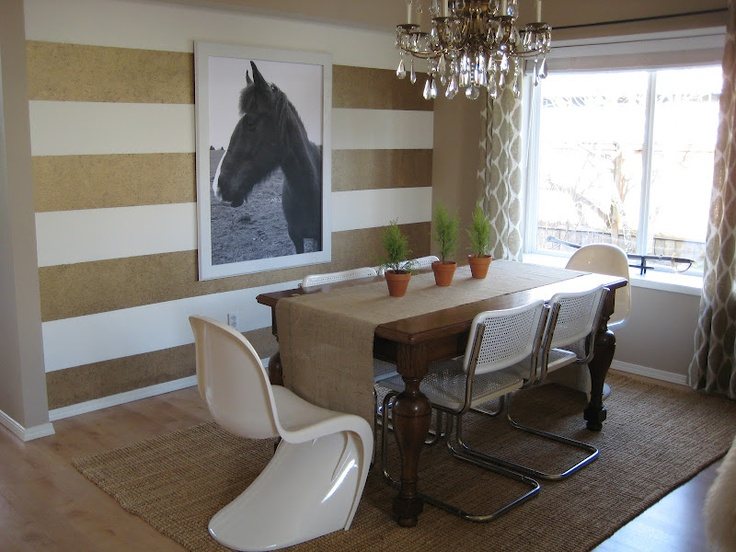 Gold And White Horizontal Stripes Accent Wall