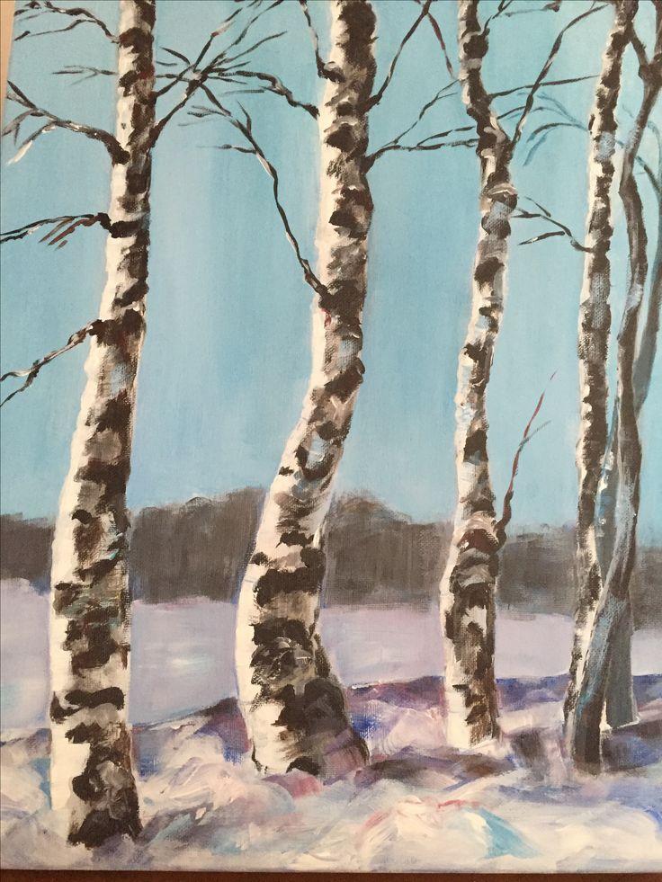 Landscape. Trees. Oil painting. Art