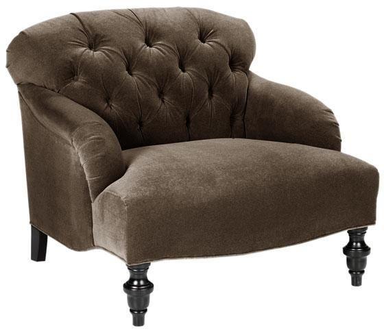 Brown Velvet Tufted Chair