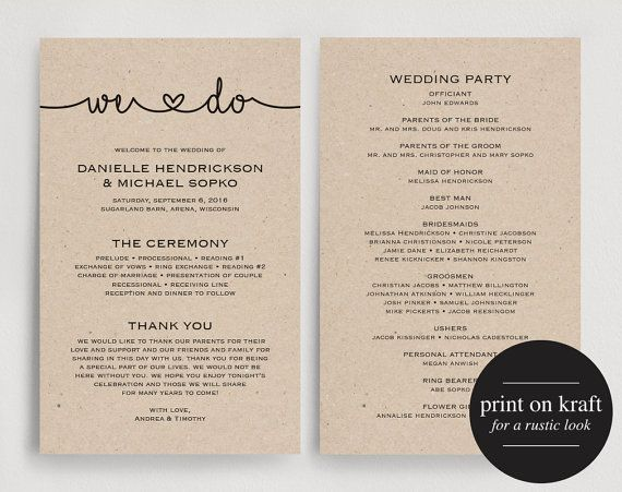 Wedding Programs Instant Download, Printable Template - Printable Wedding Program, Wedding Printable Card, PDF, Kraft #BPB160