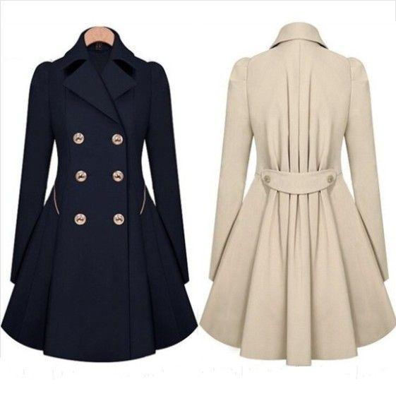 Novo 2014 moda revestimento das mulheres Outerwear gola virada para baixo de mangas morcego sólidos magro longo casaco de lã casacos de inverno mulheres C37 em Sobretudos de Roupas & acessórios no AliExpress.com | Alibaba Group