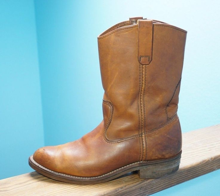 Men's Red Wing Pull On Work Western Boots Pecos ? Brown Leather Sz 11.5 | eBay