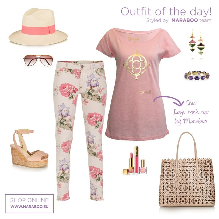 Floral pants,classical floral t-shirt $34.90€,nude wedges,nude bag