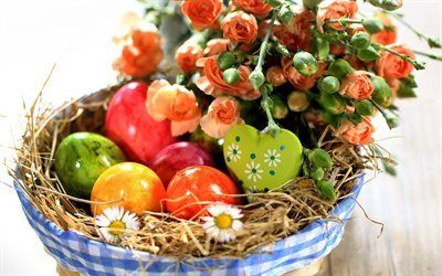 Scarica sfondi uova di pasqua, rose, pasqua, krashanki, cesto pasquale