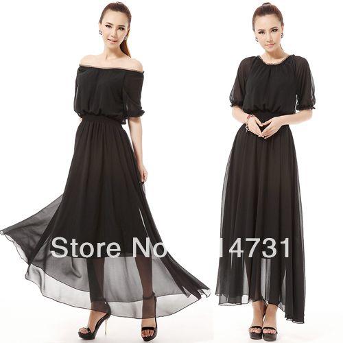 2013 Summer Chiffon One-Piece Dress Half Sleeve O-Neck Expansion Skirt Full Dress Ultra Large Hem Maxi Long Lady Evening Dresses