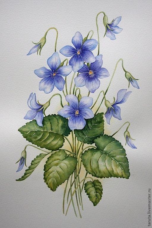 """Купить Рисунок """"Фиалки"""" акварель - фиалки, сиреневые цветы, лесные цветы, акварель, дикие фиалки"""