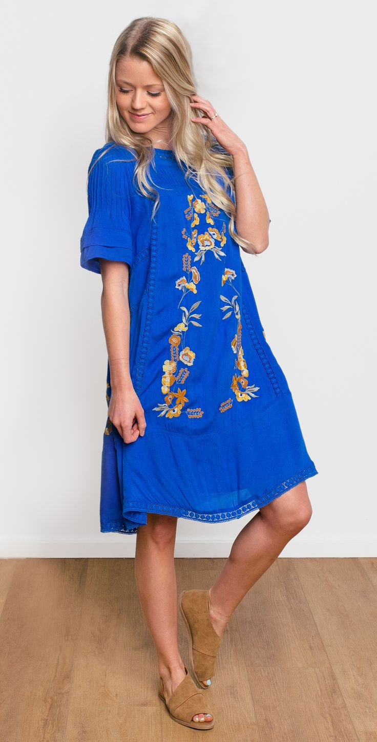 Indie Embroidery Dress - Royal