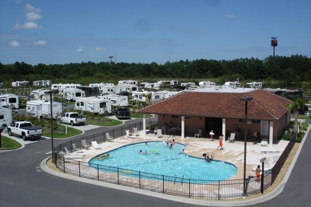 Coastal Georgia RV Resort is located in Brunswick and has a pavilion, fishing dock, swimming pool, game room, meeting room, play ground, paddle boats and bark park for you to enjoy.  www.GoldenIsles.com