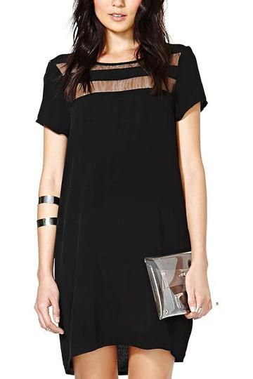 Black Chiffon Dress With Transparent Details - US$19.95 -YOINS