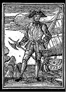 """Edward England is today remembered as one of the famous pirate captains of the """"Golden Age of Piracy"""" who met his end by trying to be generous and to spare the life of captured Scottish seamen James Macrae. During his years of activity in 1717-1720 he forged his fame in the waters of Caribbean and Africa sailing on the ships """"The Royal James"""", """"Fancy"""" and """"Pearl"""", sailing under the iconic black Jolly Roger flag with the skull and two crossed thigh bones."""
