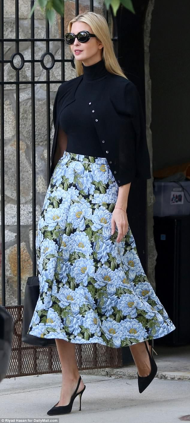 76b25a7336 Pattern: Ivanka Trump cut a classic silhouette on Thursday as she headed out  to work in a floral skirt and black sweater twin-set, black heels.