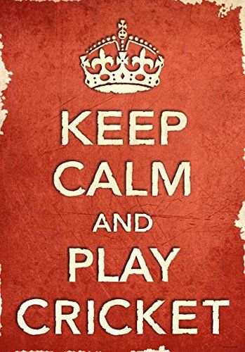 "Acr3 Vintage Style Shabby Chic Red Keep Calm And Play Cricket Sport Funny Poster Print - A2 24"""" X 17"""""