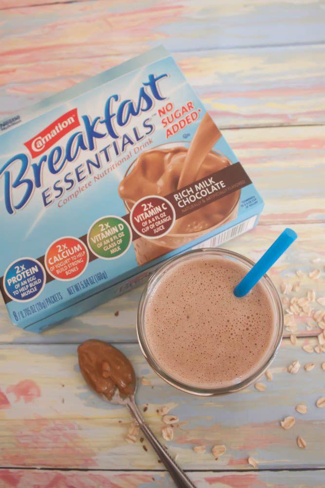 Chocolate Peanut Butter Banana (Lactation) Smoothie #BreakfastEssentials #PMedia #ad