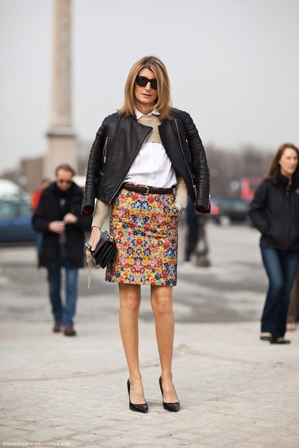 Saia Estampada: Sarah Rutson, Floral Skirts, Floral Prints, Celine Skirts, Style Inspiration, Street Style, Leather Jackets, Fashion Inspiration, Cute Skirts