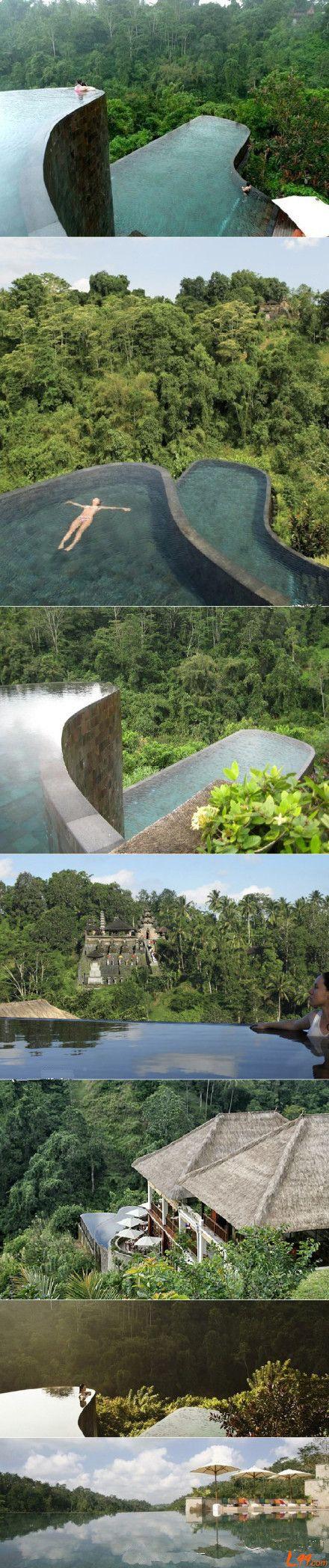double infinity pool, in Bali Ubud Hanging Gardens