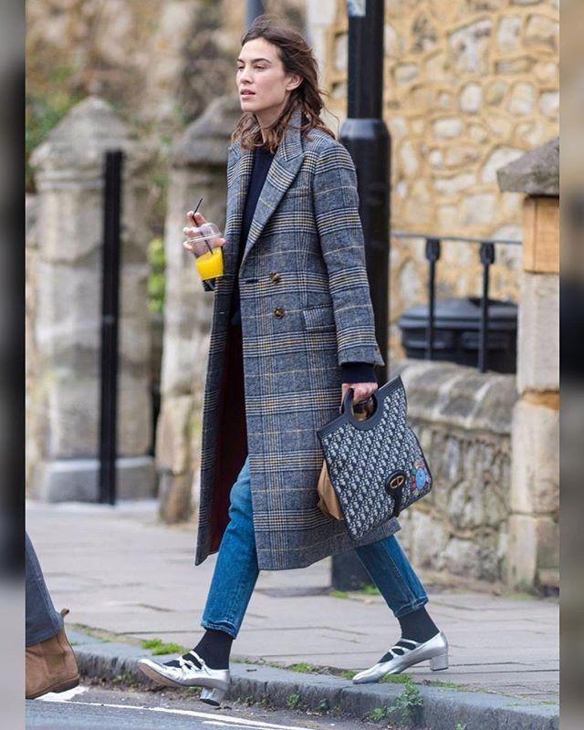 Alexa Chung's Plaid Coat and Metallic Heels for Less The