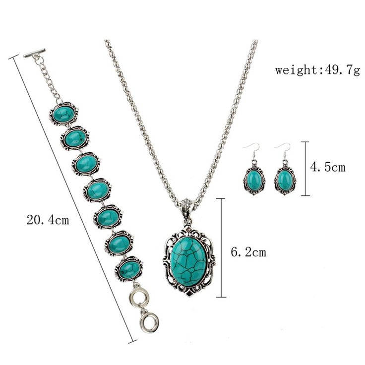 Cheap Hollow Sliver Green Rimous Oval Turquoise Collar Earrings Online   Tomtop