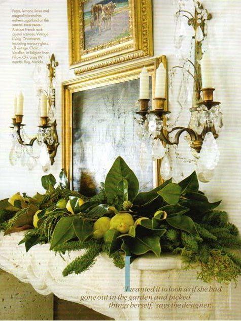 Green Mantel Christmas Fireplaces Decoration Ideas