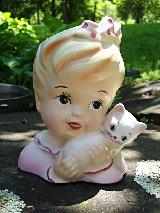 Baby Child & Kitten Lady Head Vase 1950s by vintagebitsblitz
