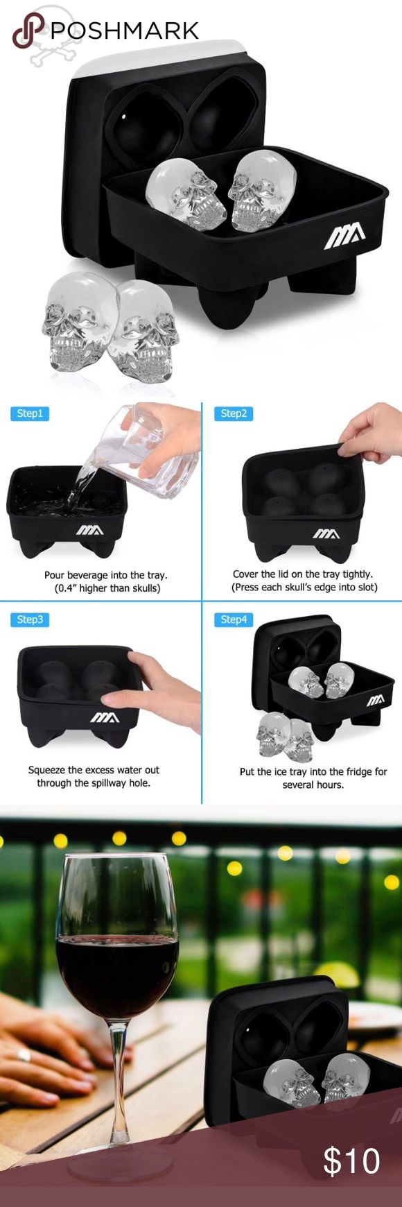 NEW 3D Skull Silicone Ice Mold (Black) ✅NEW ✅black ✅3D Skull Silicone Ice Mold ✅Makes Four Giant Ice Skulls ✅Easy Release Ice Cube Trays for Chilling Bourbon, Whiskey, Cocktail, Beverages and More Other