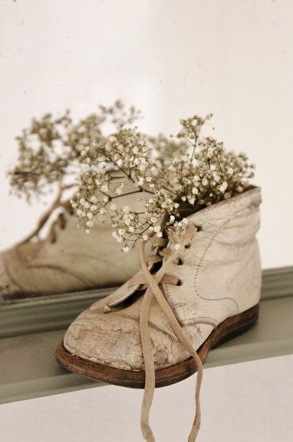 Baby's Breath in a Pair of Vintage Baby Shoes