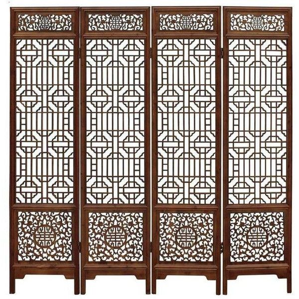 chinese brown geometric pattern floor screen 6020 bam liked on polyvore featuring home - Home Decor Screens