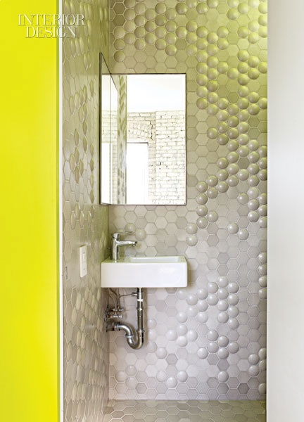 interesting porcelain tiles and acid yellow wall paint koray duman apt nyc - Porcelain Tile Apartment 2015