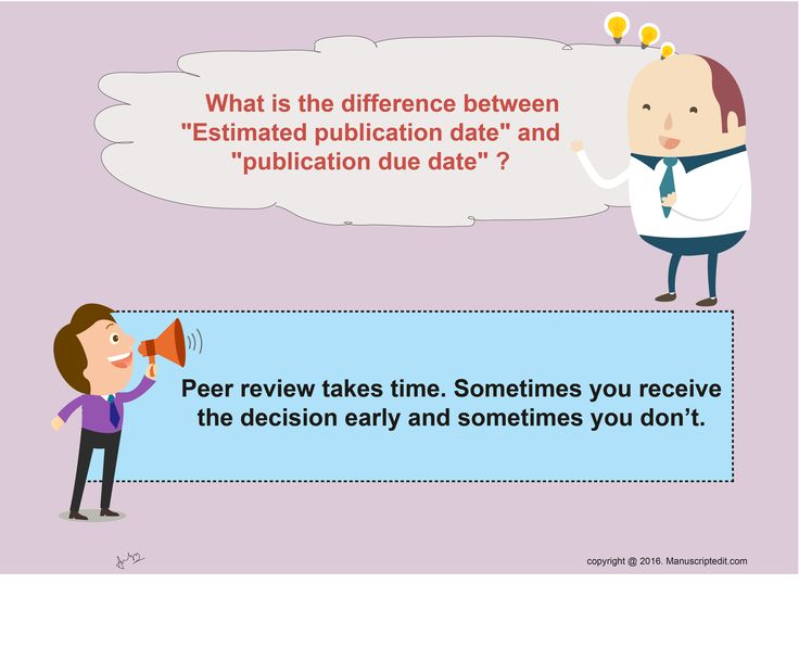 "#Manuscriptedit @ What is the difference between ""Estimated ‪#‎publication‬ date"" and ""publication due date""?  #‎Peerreview‬ takes time. Sometimes you receive the decision early and sometimes you don't.  #Manuscriptedit #Publication : http://bit.ly/1NvtPEX"