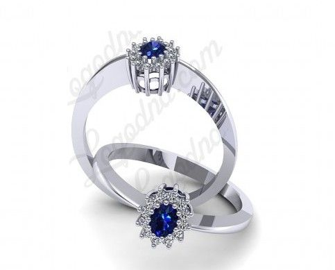 Inel de logodna din aur alb, cu safir si diamante