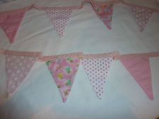Baby Girl Fabric Bunting. A great gift Idea for the Nursery. Hand made & Unique.