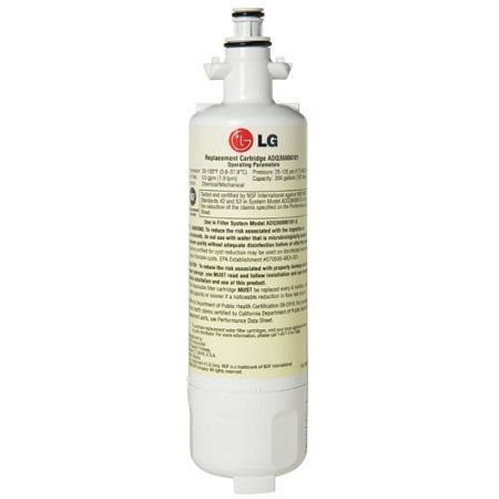 LG LT700P Refrigerator Water Filter by LG. $34.47. From the Manufacturer                Don't let the compact style of the LT700P fool you, this genuine LG refrigerator replacement filter removes over 90% of contaminants in independent NSF testing for standards 42 and 53. You can drink with confidence when you use the LT700P filter for your refrigerator's water dispenser.                                    Product Description                ADQ36006101 Features: -Water fil...