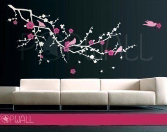 envío gratuito - etiqueta de la pared de rama de árbol Cherry Blossom con aves pared calcomanía pegatina vinilo arte de la pared, pared gráfica 076