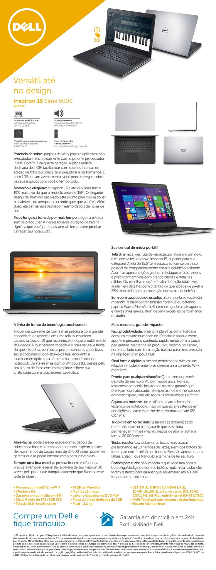 Notebook samsung expert x37 - Notebook Dell Intel Core I7 4510u 16gb De Mem Ria 1tb De Hd