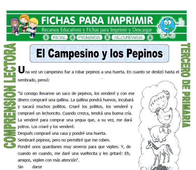 Poema Por El Dia Del Campesino Para Niños De Inicial El Campesino Y Los Pepinos Para Tercero De Primaria Fichas