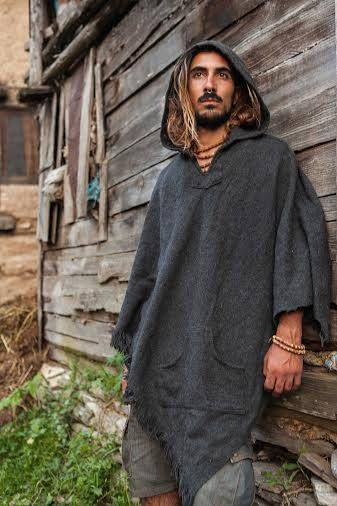 Wool Poncho For Men And Women by PrimitiveTribalCraft on Etsy, $40.00