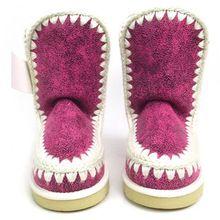 Venta al por mayor 2015 mujeres de mitad de la pantorrilla otoño / invierno Mou nieve botas marca mano de tejer calidad sutura del coche para mujer planas Mou zapatos(China (Mainland))