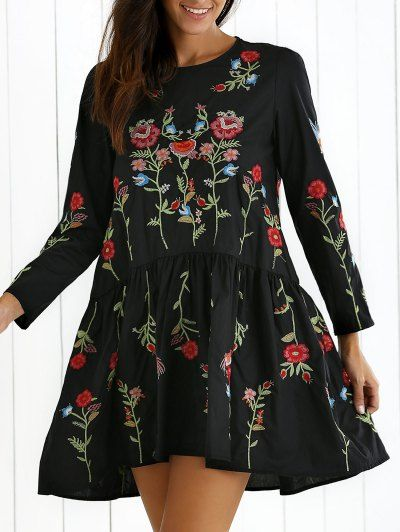 SHARE & Get it FREE | Floral Embroidered Long Sleeve Drap DressFor Fashion Lovers only:80,000+ Items • New Arrivals Daily Join Zaful: Get YOUR $50 NOW!