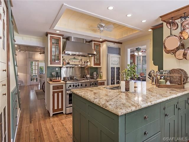 Old Florida Beach House Kitchen Green Cabinets Granite Stainless Gourmet Wood Floors