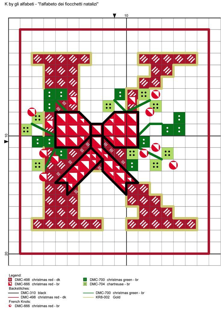 alfabeto dei fiocchetti natalizi K