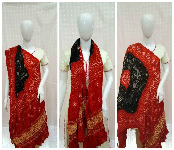"""Aptly said """"When in doubt wear red"""" Adorn yourself with this ravishing red and black bandhani dupatta. Black in centre magnifies the red color in periphery. Shikari Bandhej pattern made out of Fine & small bandhani dots beautifies the heavy gajji silk material. Traditional lagdi patto (Zari Border)pattern in daman (Ends) gives a rich traditional look to this dupatta.  For info/collaboration- 9377399299 #sankalpthebandhejshoppe #bandhanidupatta #dupatta #bandhani #bandhej #bandhanisarees"""