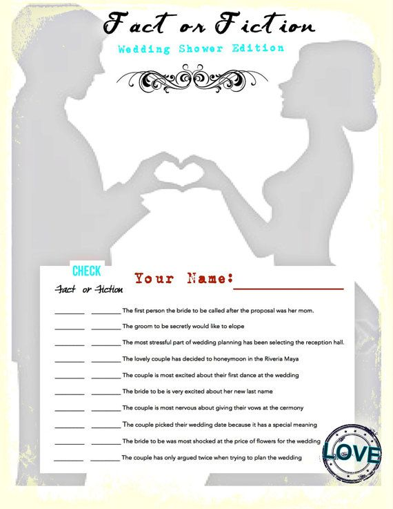Fact or Fiction-Wedding Bridal Shower Game. Digital Image 31 flavors of design