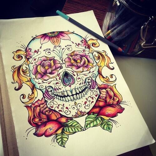 dessin t te de mort mexicaine tatoos pinterest. Black Bedroom Furniture Sets. Home Design Ideas