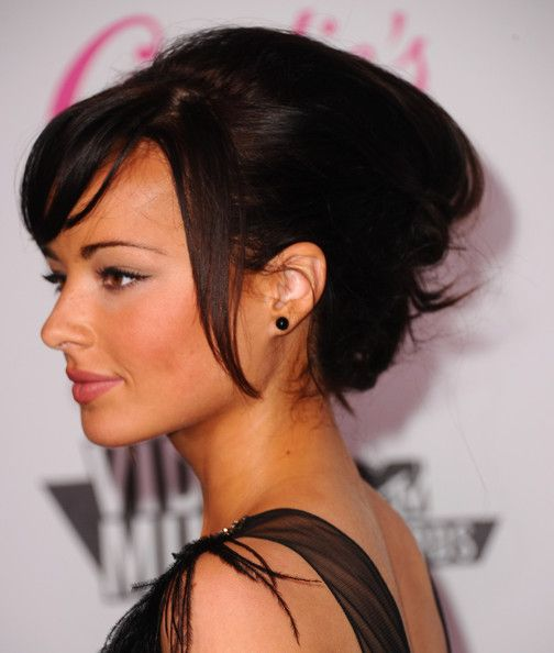Ashley Rickards Messy Updo  Ashley Rickards arrived at the Candie's 2011 MTV Video Music Awards after party with a soft, casually pinned-up 'do with a few face-framing pieces and side-swept bangs.