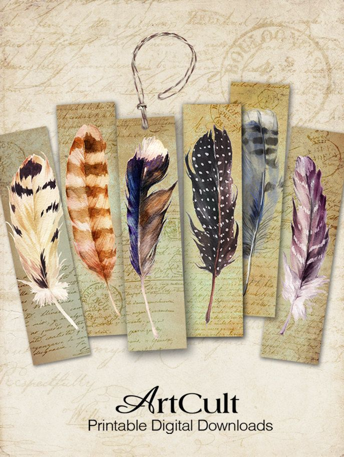 printable digital collage sheet feathers bookmarks instant